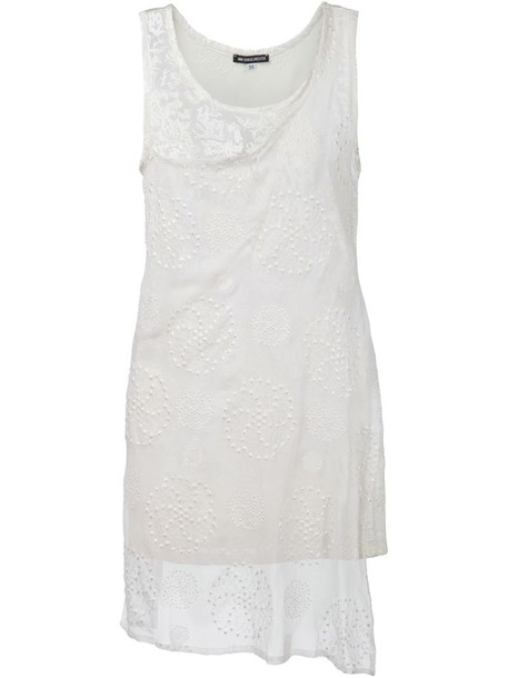 ANN DEMEULEMEESTER top long embroidered white