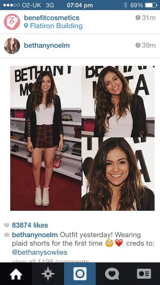 shorts plaid shorts, boots, red, black, shorts, white top, black cardigan, bethany mota @bethanymota