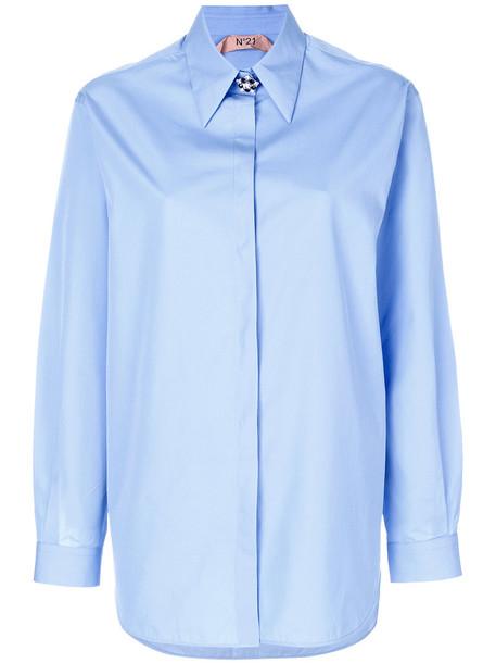 No21 - embellished button shirt - women - Cotton - 38, Blue, Cotton