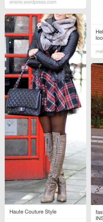 boots quilted skirt plaid plaid skirt tartan skirt tartan mini skirt skirt bye schoolgirl jacket