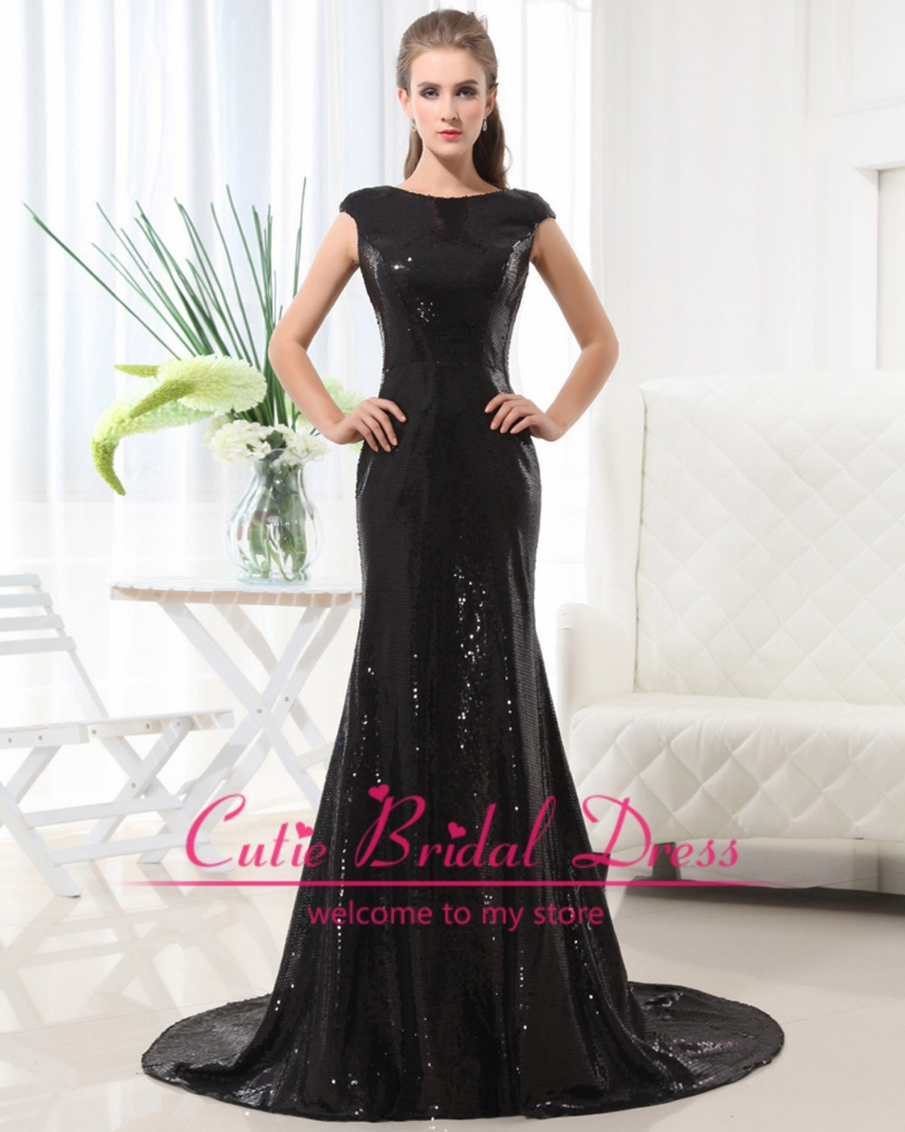 Aliexpress.com : buy new arrival charming black sequined long prom dresses exquisite scoop neck cap sleeve court train party dresses custom made from reliable dress with boots fashion suppliers on cutie bridal dress