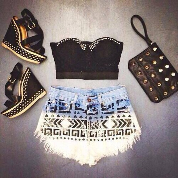shorts aztec aztec short high waisted short shoes shirt