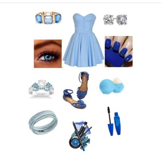 fashion light blue cinderella preppy dress