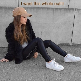 jacket nude hat fuzzy coat fur coat outfit idea outfit black nike nike shoes