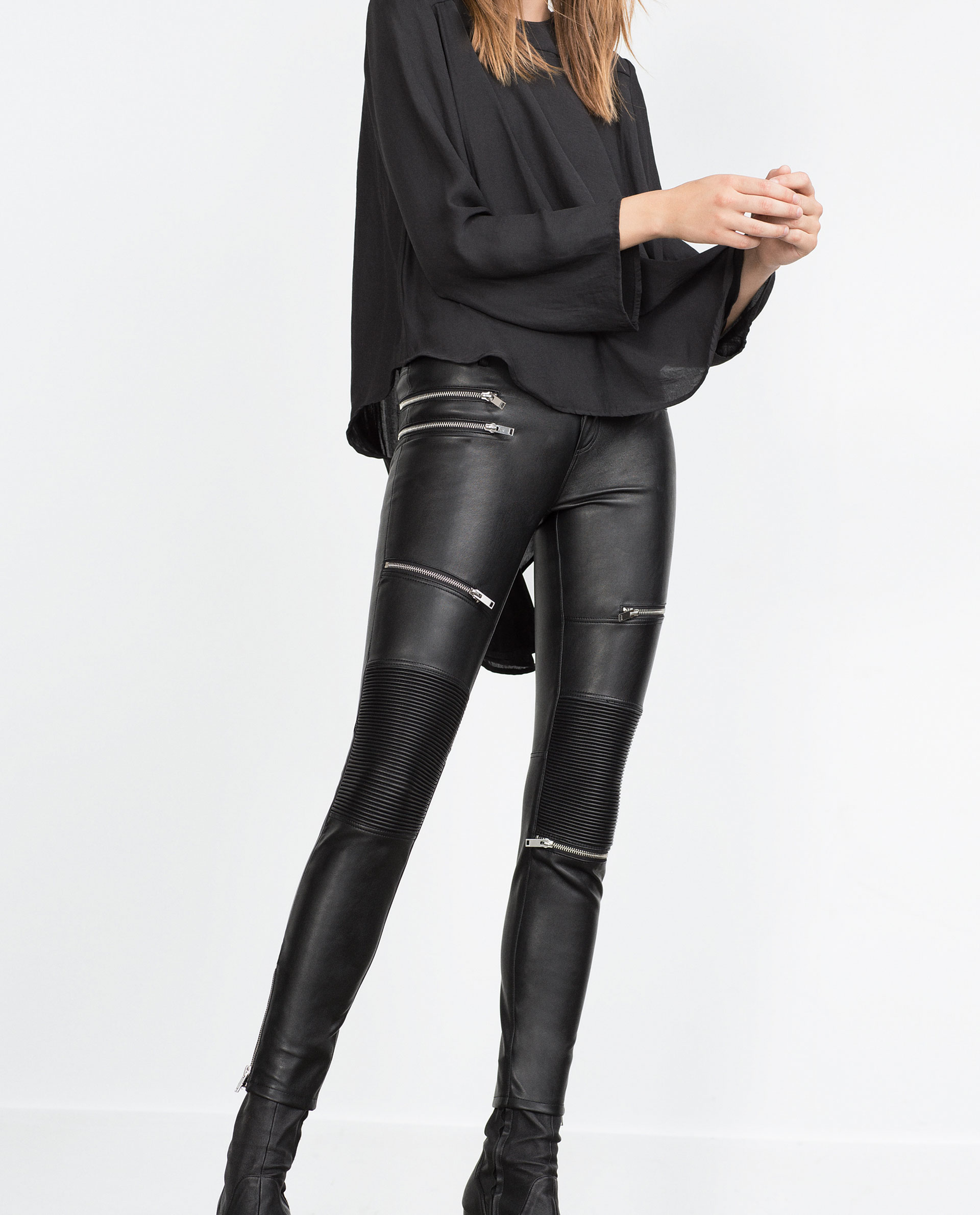 0848718f FAUX LEATHER BIKER TROUSERS - WOMAN - MUST HAVES | ZARA United States