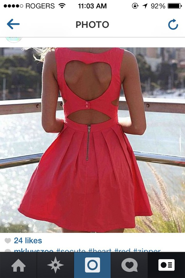 dress coral dress summer dress fashion heart cut out