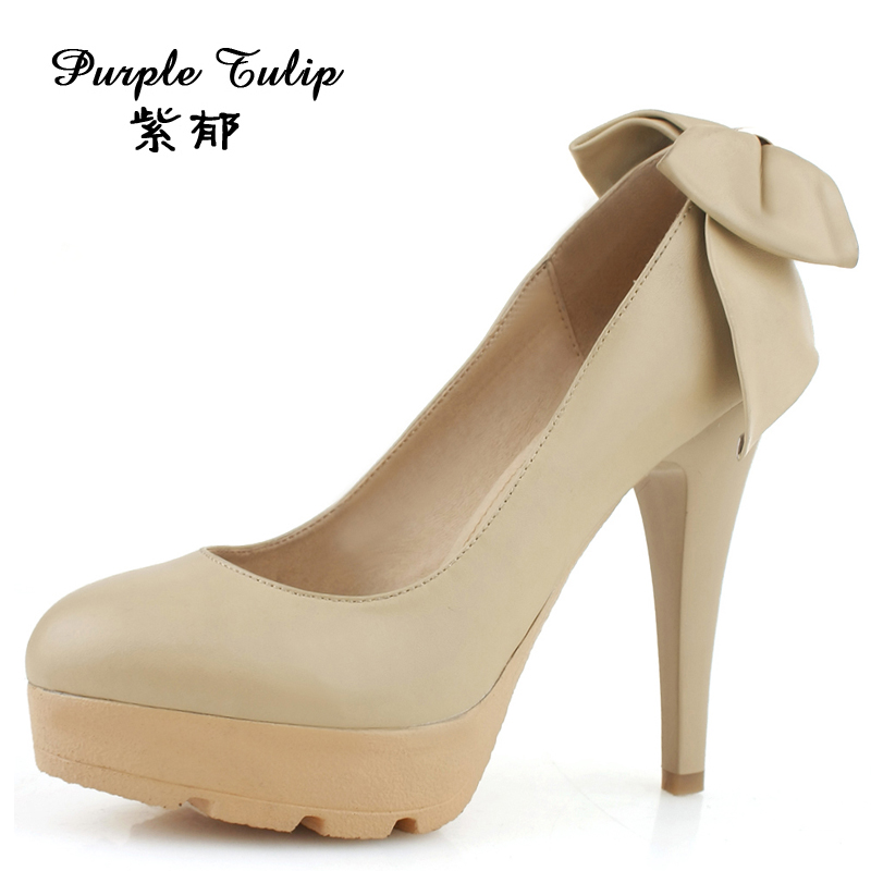 Purple Yu Shoes Spring 2013 new European and American leather bow heels waterproof Taiwan high heeled shoes women nude color