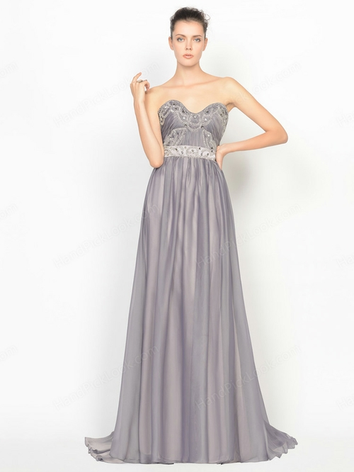 A-line Sweetheart Chiffon Court Train Sashes/Ribbons Prom Dresses - HandpickLook.com