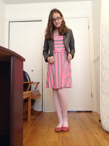 dress pink whit grey stripes