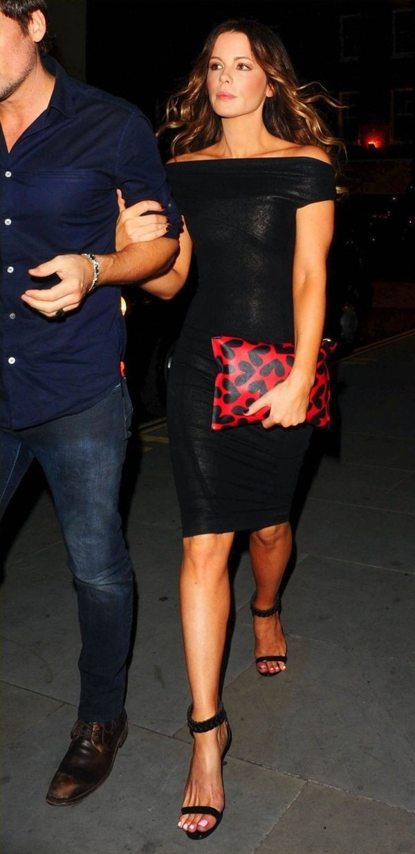 dress black kate beckinsale bag clutch