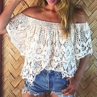 top lace summer off the shoulder cute trendy girly rose wholesale-feb