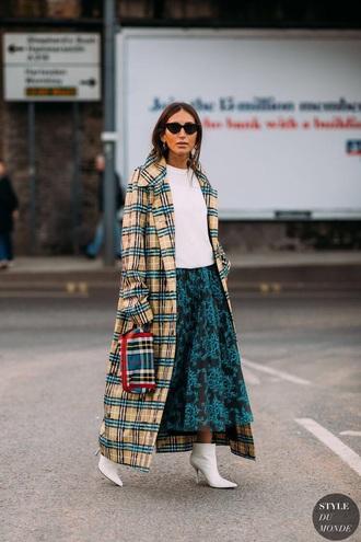 coat plaid coat long coat top skirt midi skirt floral skirt boots white boots white top floral