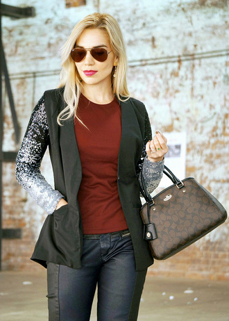 cardigan blazer sequins glitter sparkle silver black ombre classy elegant business outfit fashion style