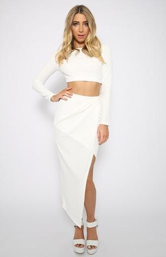 white skirt slit skirt two-piece