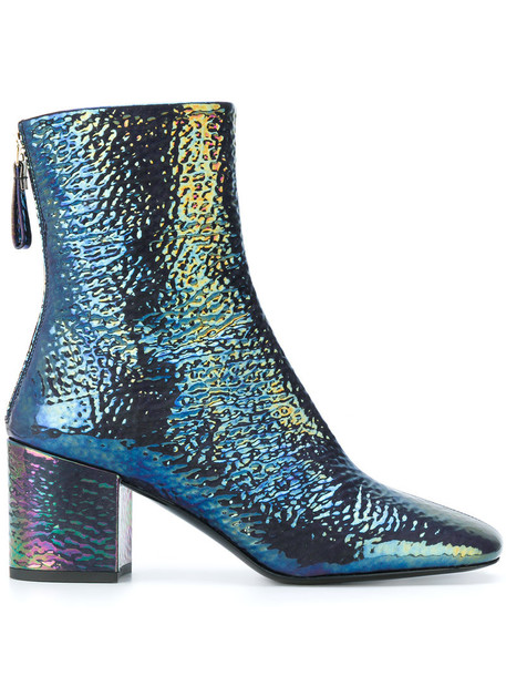 women iridescent leather blue shoes