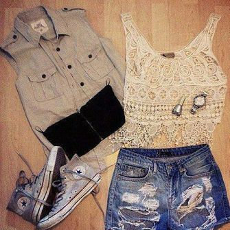 shirt high waisted shorts blouse grey top bra black cream top shoes summer outfits shorts high waisted grey cream color chuck taylor all stars chuck taylor all stars vintage hipster cute hot bra color