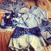 shorts,studded,studs,studded shorts,customised,clothes,tie dye,spikes,levi's,vintage,cut off shorts,ombre bleach dye,bleached short