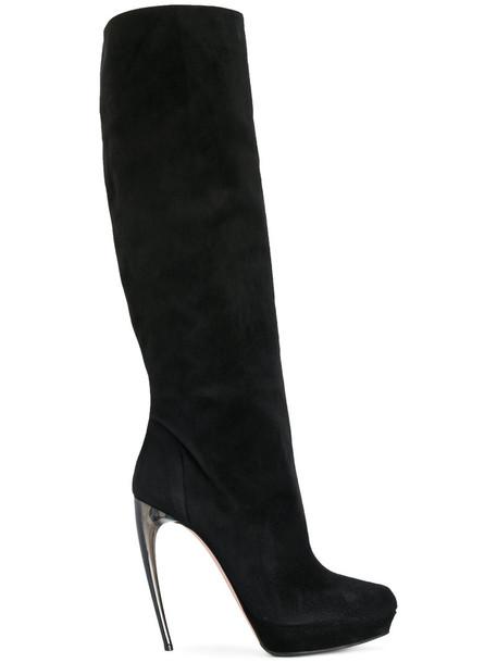 Alexander Mcqueen heel women heel boots leather suede black shoes