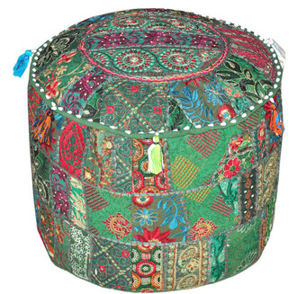 home accessory patchwork poufs pouffe moroccan bean bag indian bean bag furniture cheap gift holiday gift stool round poufs large round poufs living room decoration idea