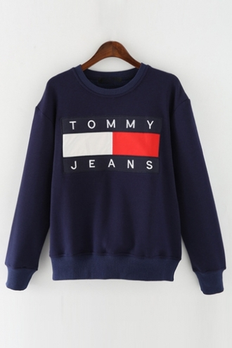 sweater navy trendy cool casual logo tommy hilfiger long sleeves