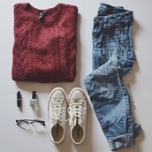 jeans,sweater,cardigan,redish,burgendy,fall sweater,red sweater,style,denim,converse,oversized sweater,winter sweater,black friday cyber monday,burgundy,sweater red,spring,winter outfits,hipster,boyfriend jeans,mom jeans,burgundy sweater,sweatshirt,blue jeans,blouse