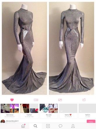 dress grey dress metallic dress space slit dress long sleeve dress mermaid prom dress shiny dress