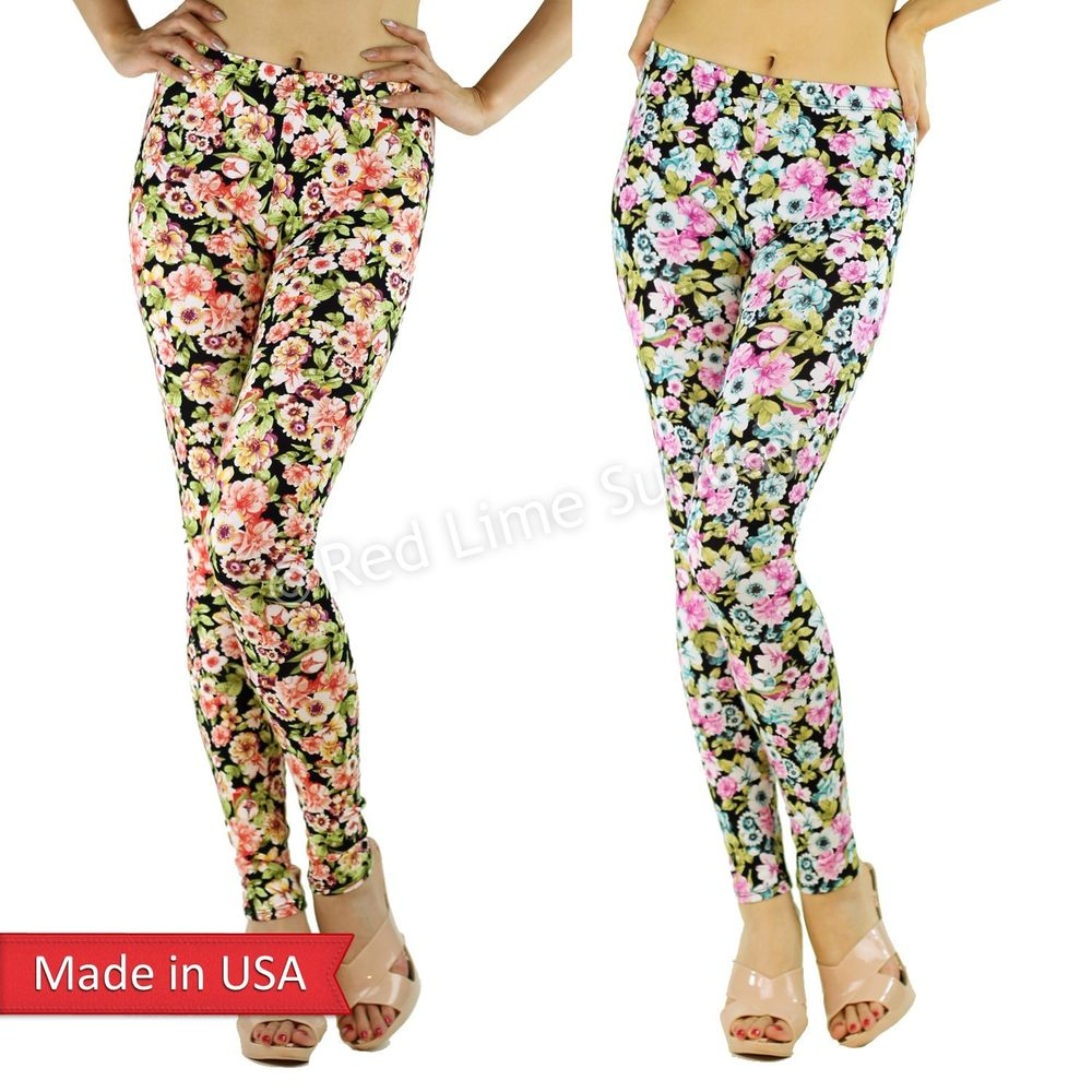 New Women Chic Color Floral Flower Print Fitted Cotton Leggings Tights Pants USA