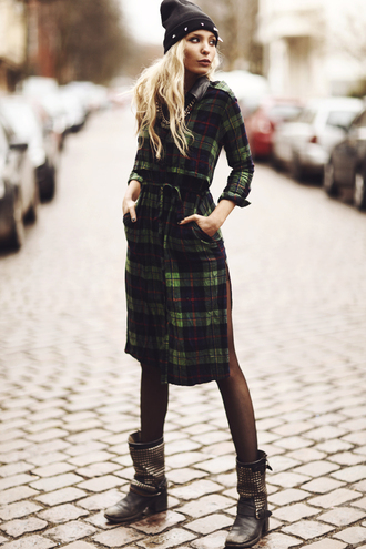 shirt green dress plaid maxi dress dress blouse jacket coat clothes top boots shoes beanie hat