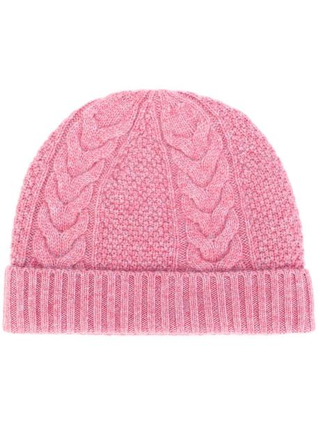 hat purple knit pink
