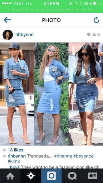fashion bottoms denim skirt denim beyonce kim kardashian dress