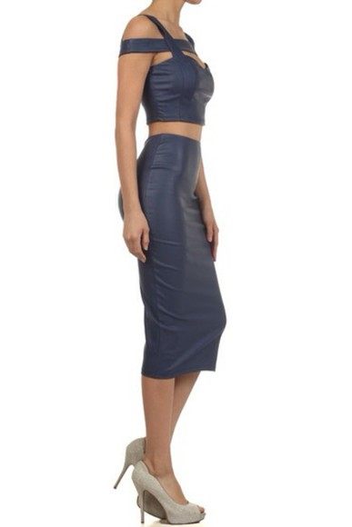 fashion navy two-piece cut offs top high waisted skirt