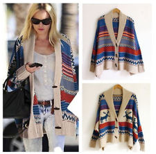 UK Seller! Woman's Chunky Knit Oversize Aztec/Navajo/Tribal Poncho Cardigan top | eBay