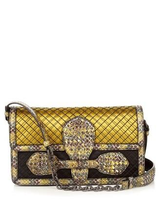 bag shoulder bag silk satin yellow