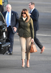 bag,jacket,pumps,melania trump,first lady outfits,pants