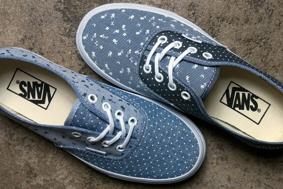 blue and white vans denim print denim print shoes girly chambray authentics lace up sneakers off the wall vans floral polka dots