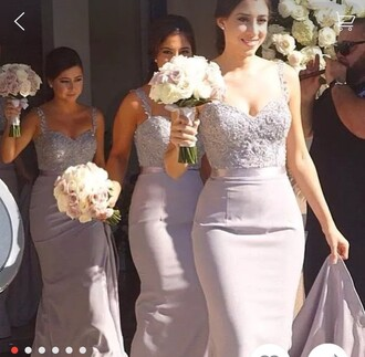dress bridesmaid long bridesmaid dress long dress mauve grey lace dress