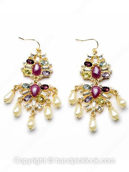Purple Gemstone White Pearl Earrings - HandpickLook.com
