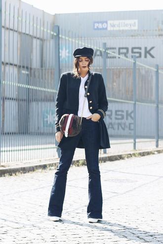 bag tumblr round bag coat blue coat jeans denim blue jeans flare jeans fisherman cap