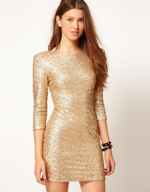 Dress: sequins, gold, cocktail dress, short, long sleeves, gold ...