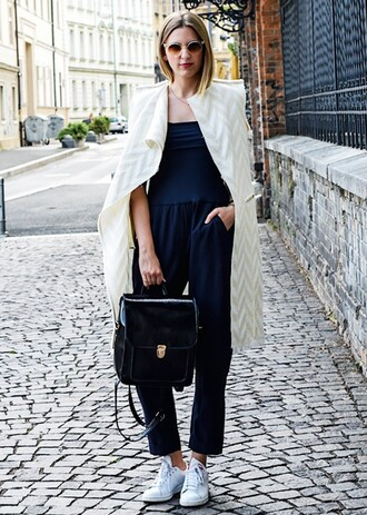 shoes adidas adidas shoes tumblr tumblr outfit pinterest black jumpsuit white trench coat trench coat vintage bag black bag stan smith sneakers asos asos shoes adidas superstars stan smith