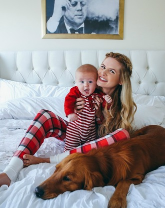 blogger hairstyles barefoot blonde pajamas baby clothing stripes