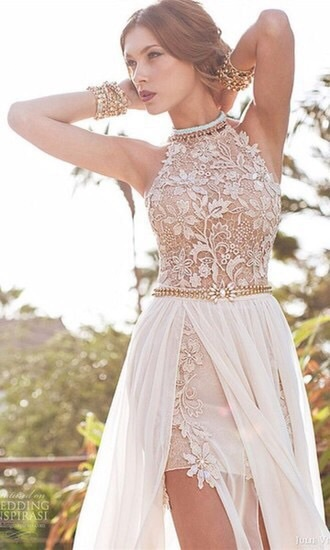dress beige white fashion long prom