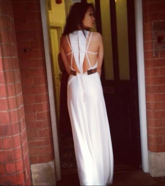 dress prom dress white dress long dress white long dress open back dresses long open back dress