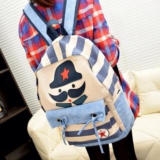 bag blue mustache cute cool hipster