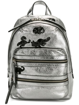 backpack grey metallic bag