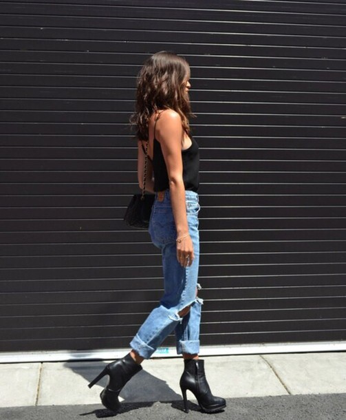 shoes jeans levi's tumblr girl ripped pants boyfriend jeans black heels high heels blouse top ripped jeans boots style inspiration