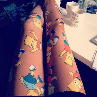 pants the simpsons animation leggings printed leggings printed pants cloths tights stockings bart simpson sister love heart marshmallows hipster yellow orange pants blue pants blue the simpsons. skirt cool transparent