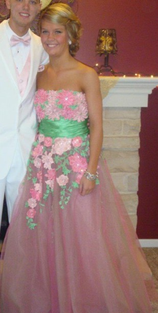 dress pink and green prom dress