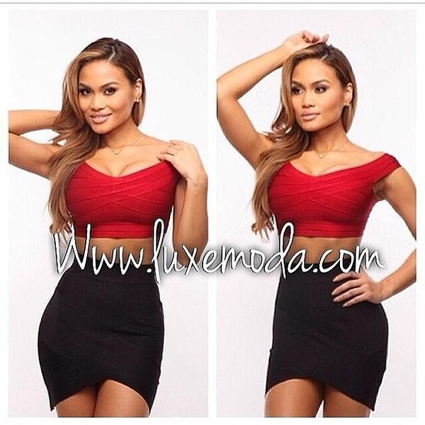 dress red crop top black skirt hot clubwear girlsnight out