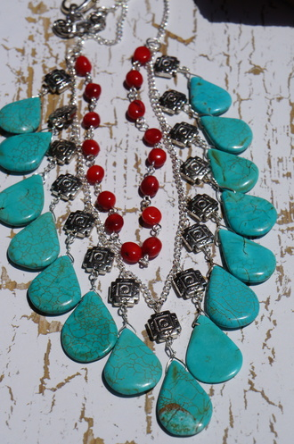 western southwestern jewels turquoise and coral necklace